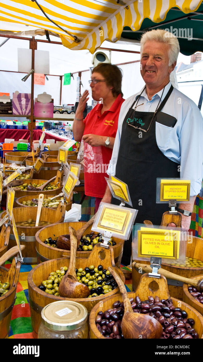 An olive stall at the Thursday famer s market in the typical English market town of Devizes Wiltshire England UK - Stock Image