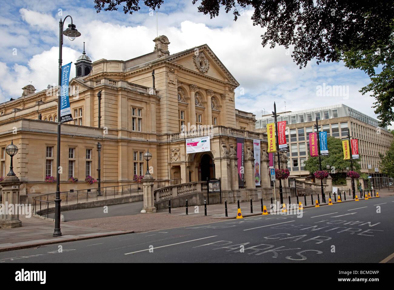 Banners advertising Music Festival outside Cheltenham town hall UK - Stock Image