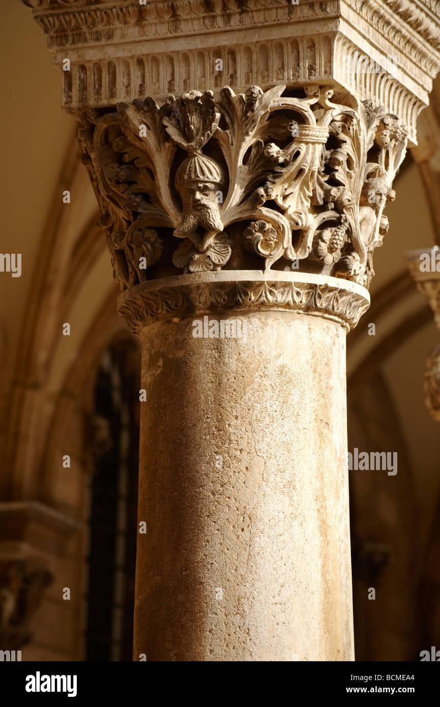 Capital of pillars on the Rectors Palace - Dubrovnik - Croatia - Stock Image