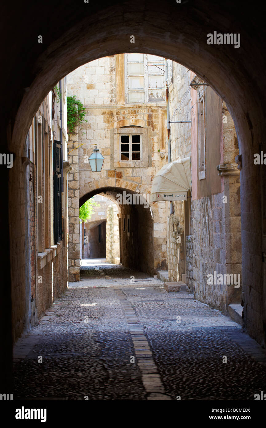 Quiet medieval back streets of Dubrovnik Croatia - Stock Image