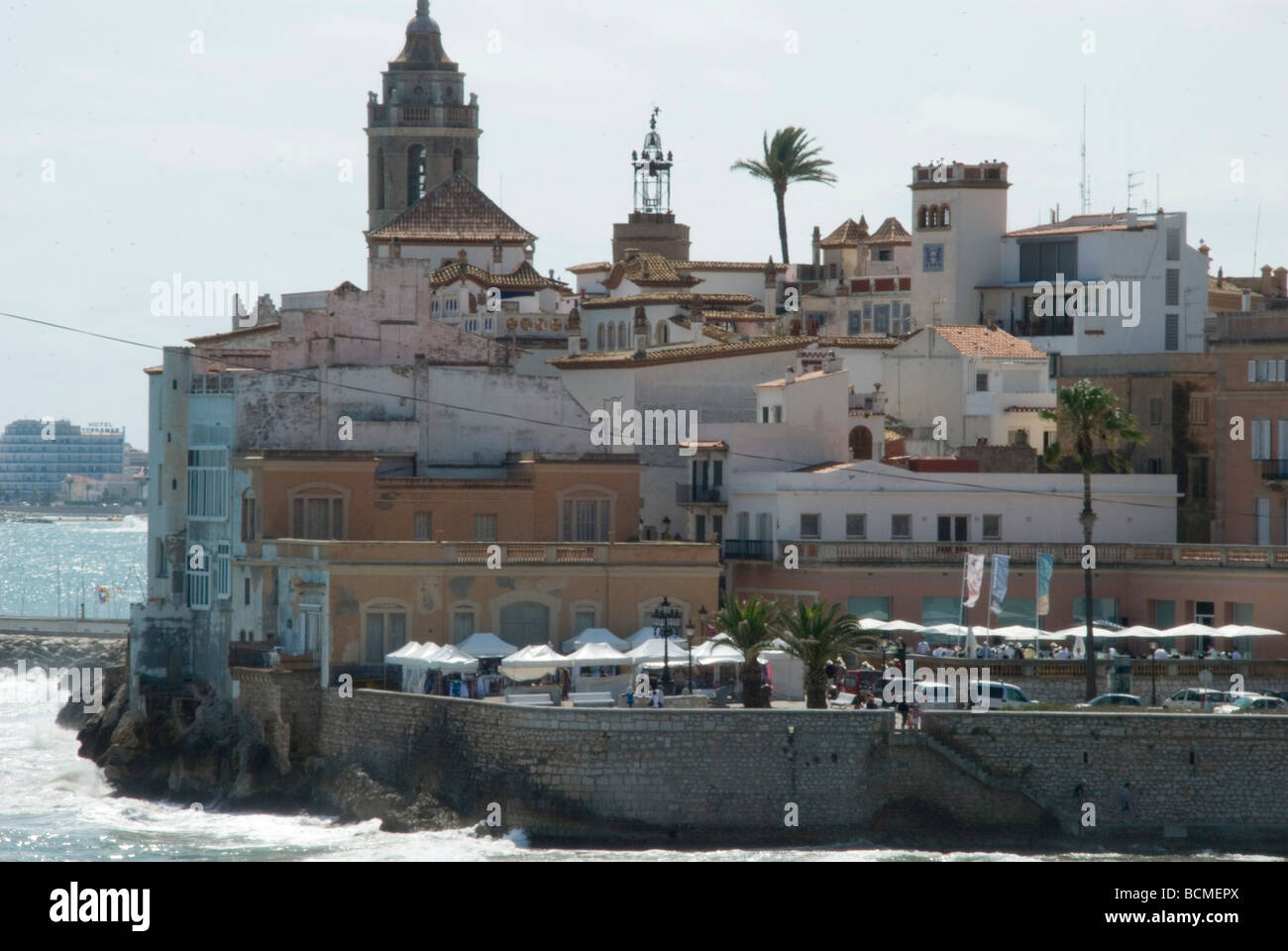 Beach at Sitges with town view behind , Barcelona Spain. - Stock Image