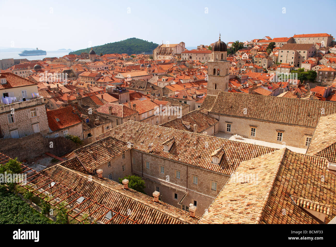 roof tops and courtyards of Dubrovnik - Croatia - Stock Image