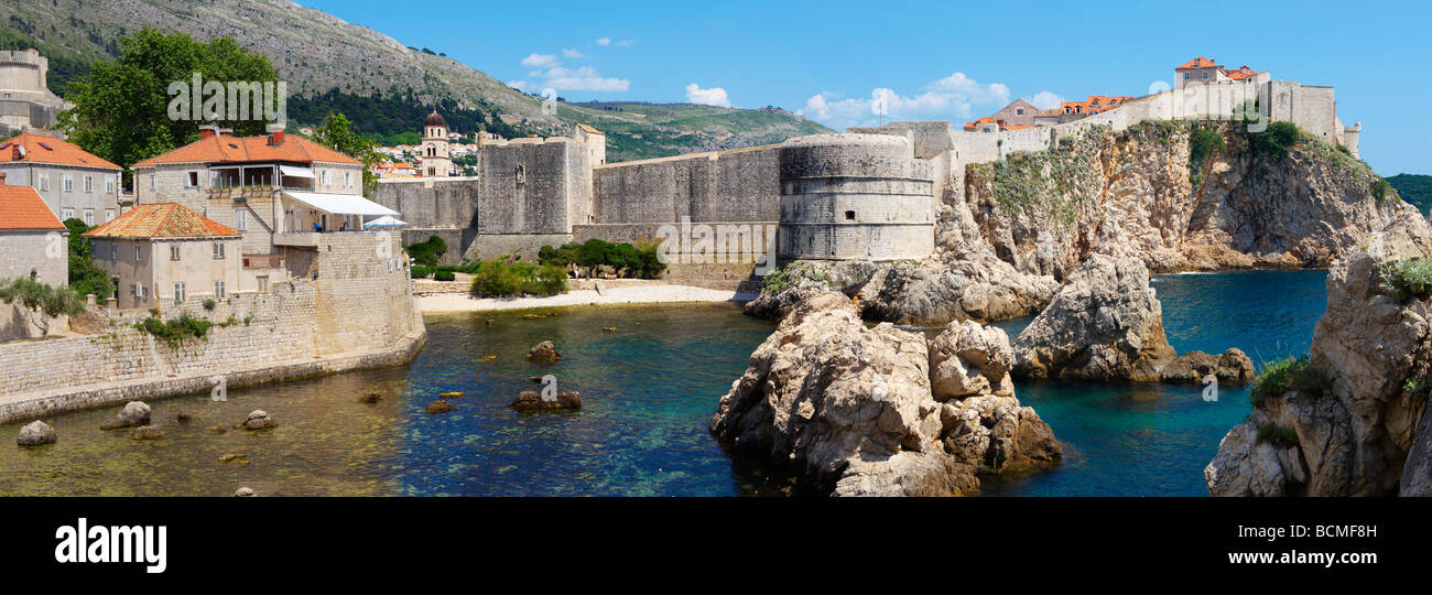 City walls of old Dubrovnik - Croatia. Panoramic - Stock Image
