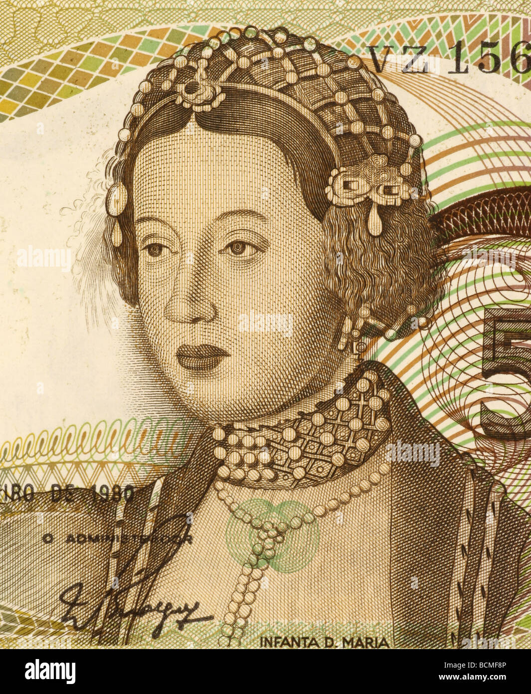 Dona Maria on 50 Escudos 1980 Banknote from Portugal Stock Photo