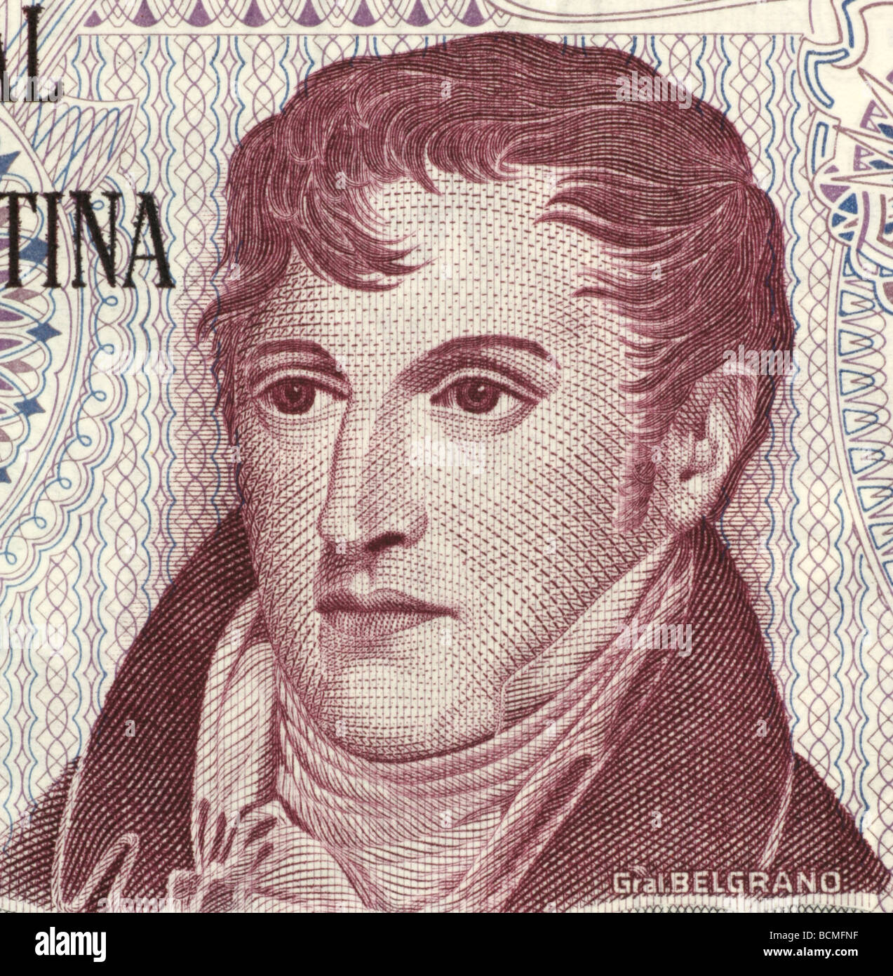 Manuel Belgrano on 10 Pesos 1976 Banknote from Argentina - Stock Image