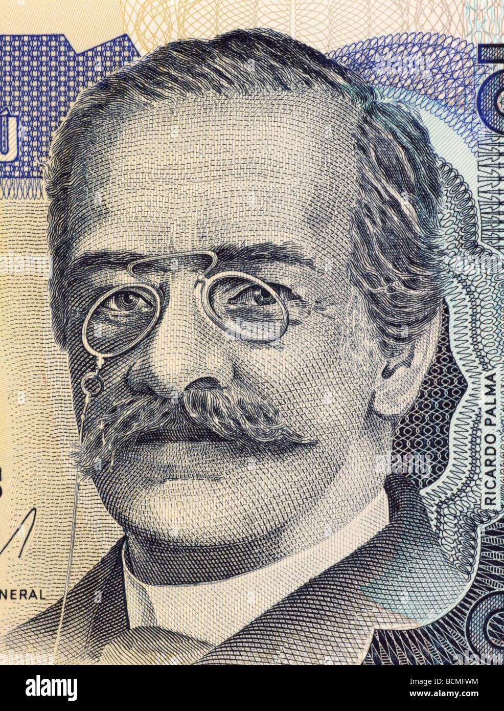 Ricardo Palma on 10 Intis 1986 Banknote from Peru - Stock Image