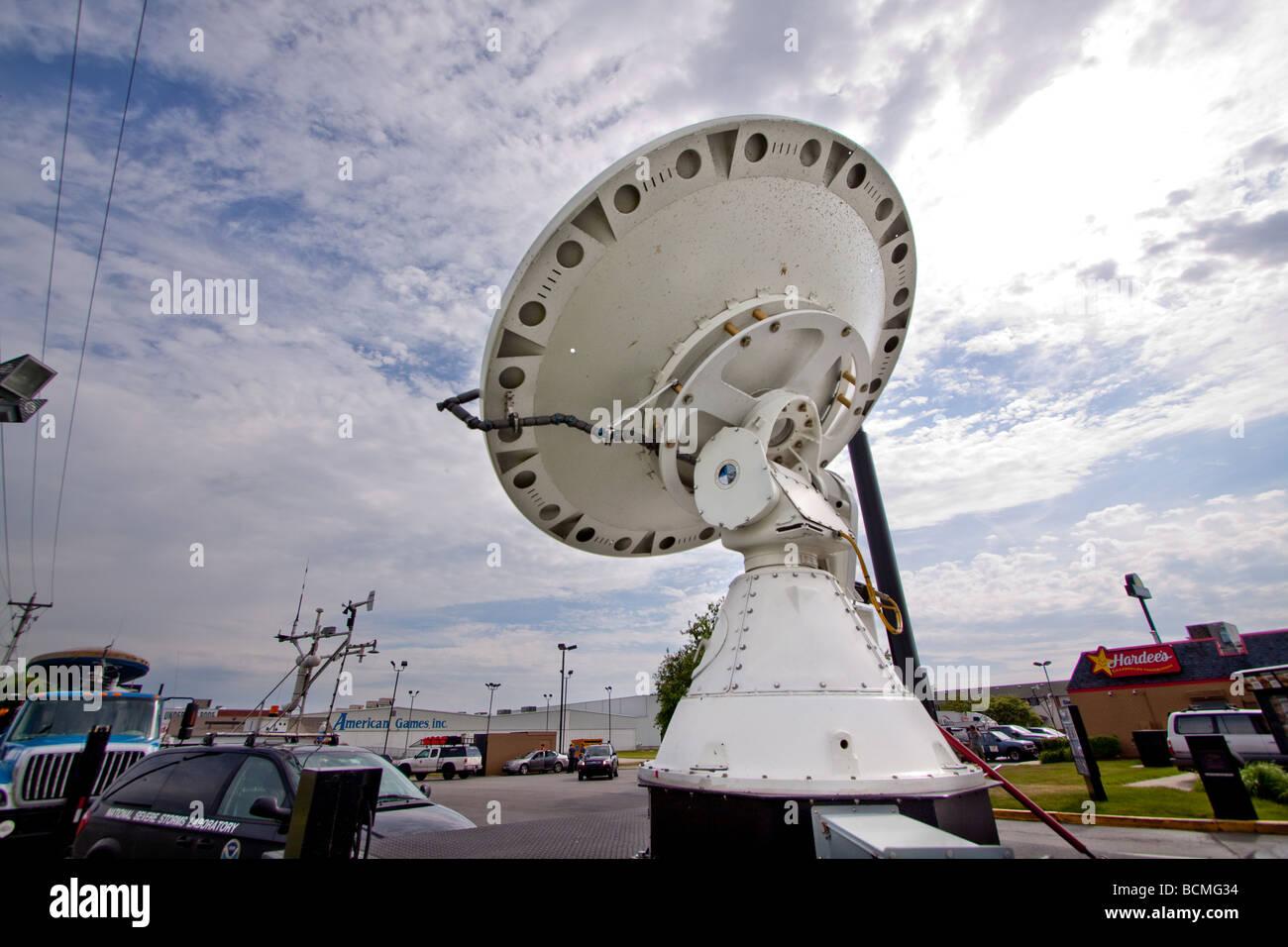 A moblie doppler radar truck dish for Project Vortex 2. - Stock Image