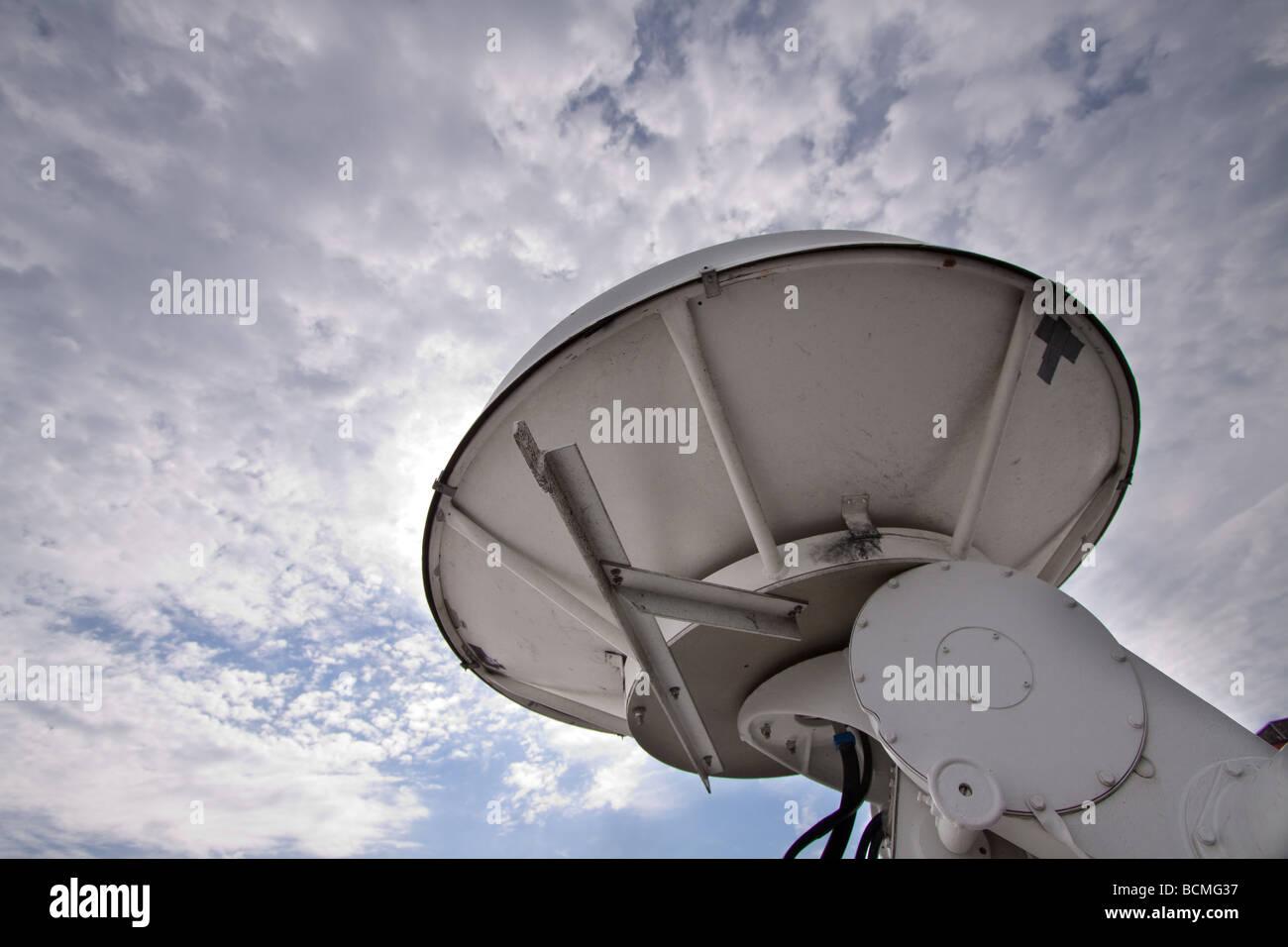 A moblie doppler radar truck dish for Project Vortex 2. Stock Photo