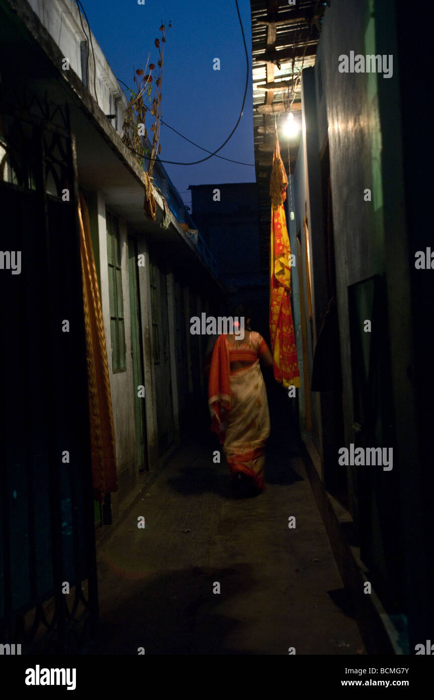 back of sex worker in alley way jamalpur bangladesh stock photo