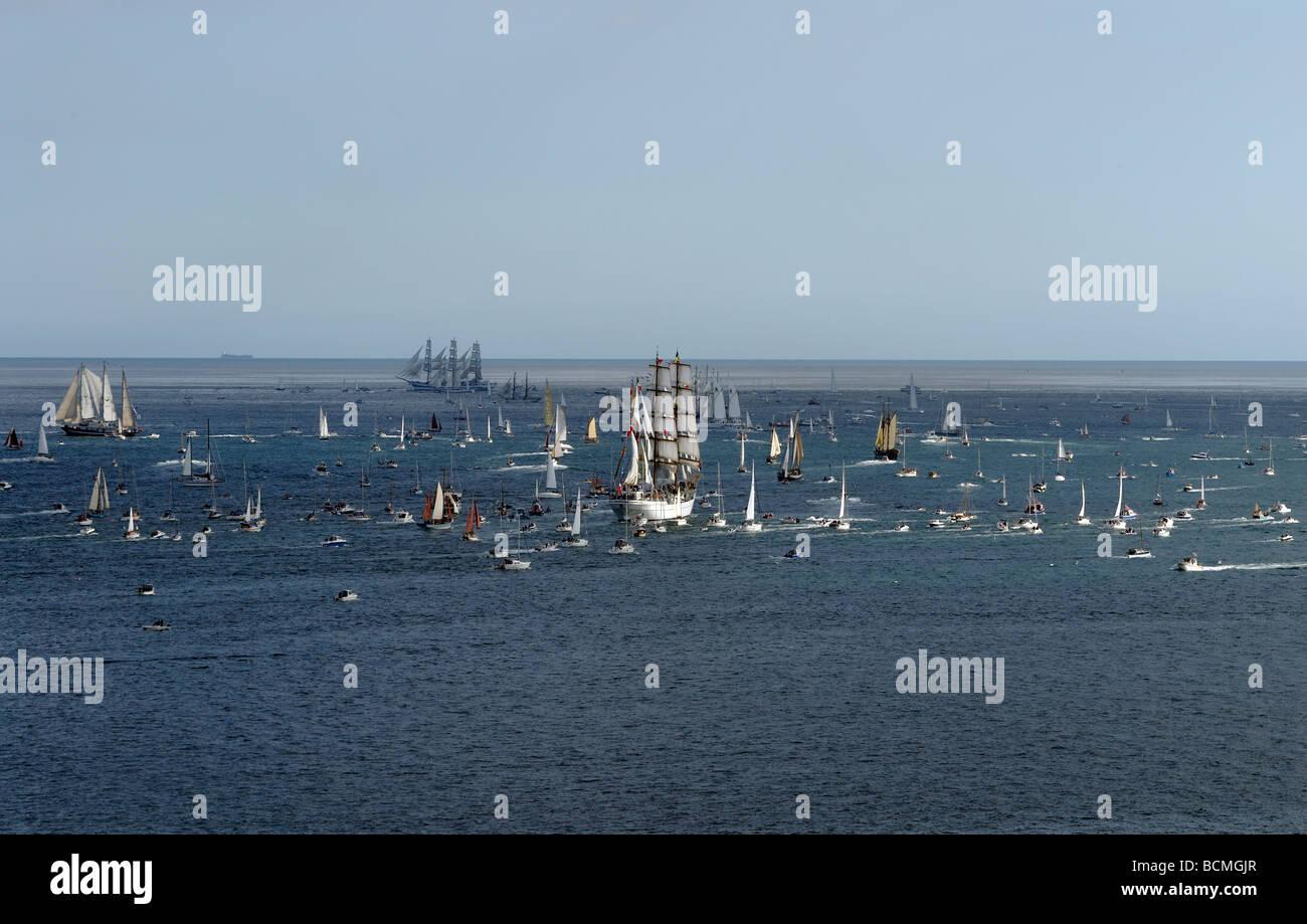 Tall ships race Falmouth Cornwall 2008 - Stock Image