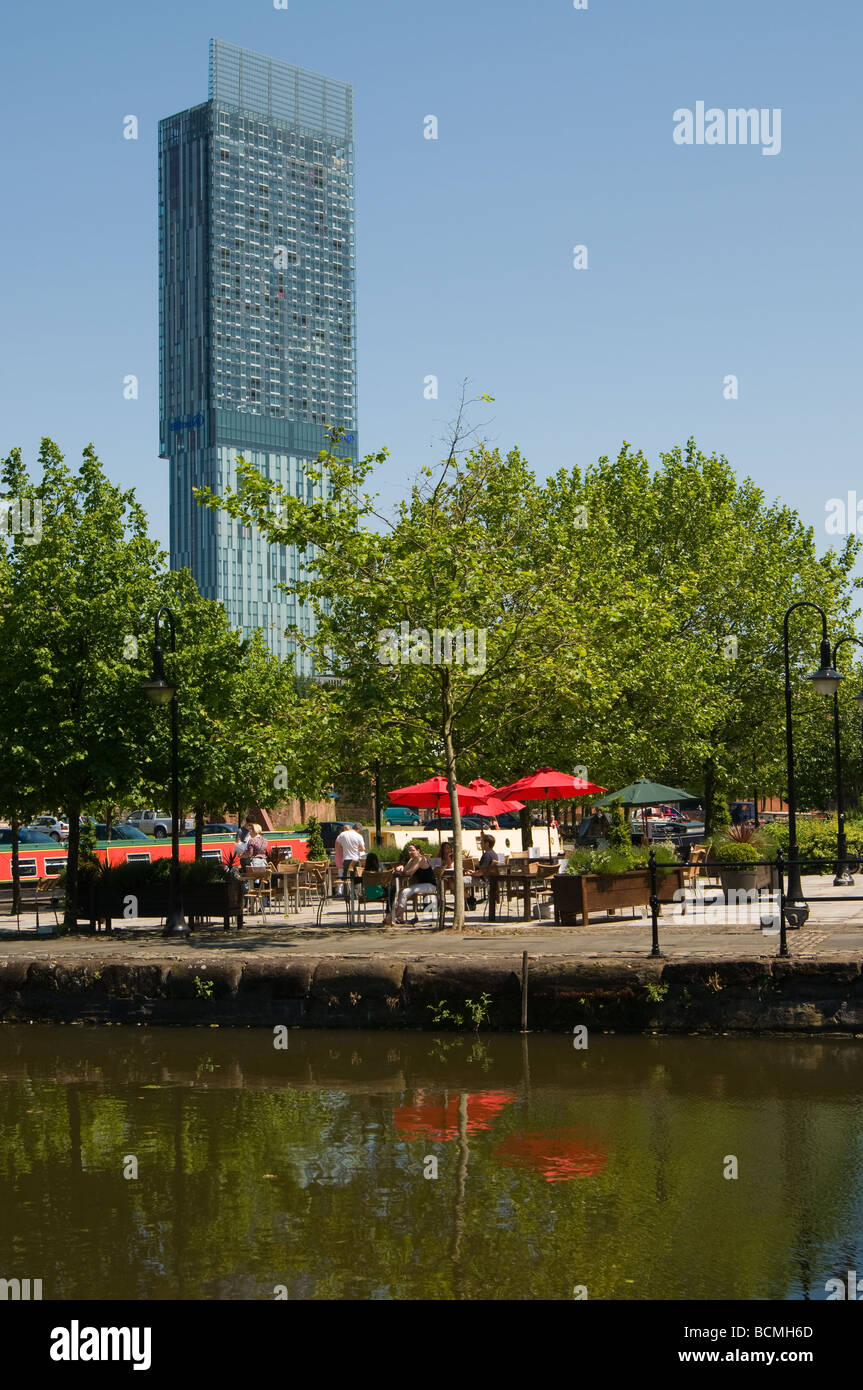 Beetham Tower Manchester from Castlefield Wharves - Stock Image