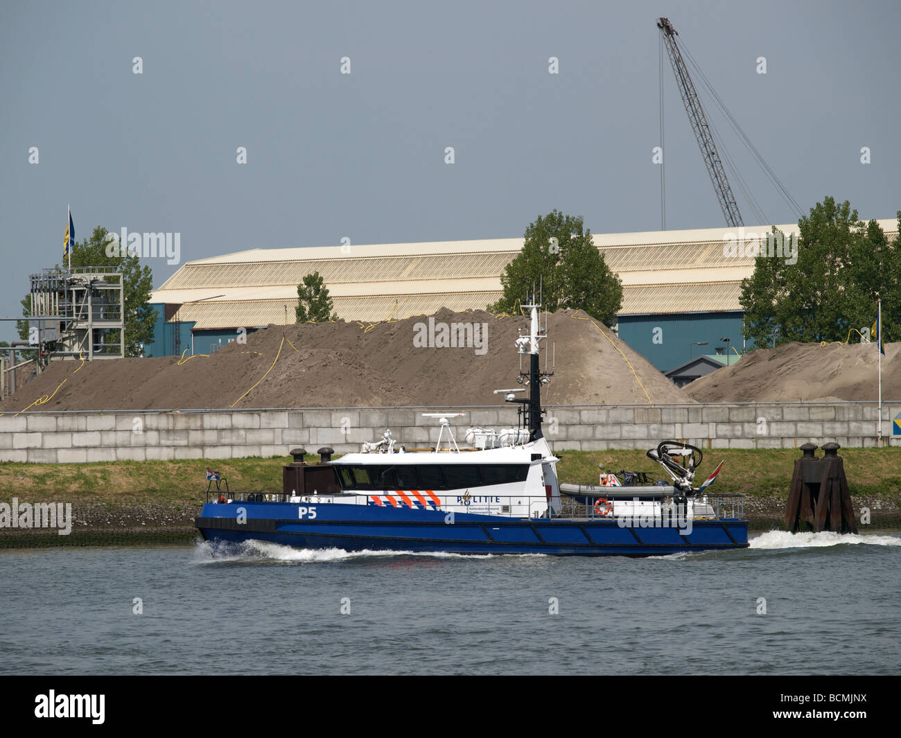 Dutch harbour police patrol boat p5 in the port of Rotterdam Zuid Holland the Netherlands Stock Photo