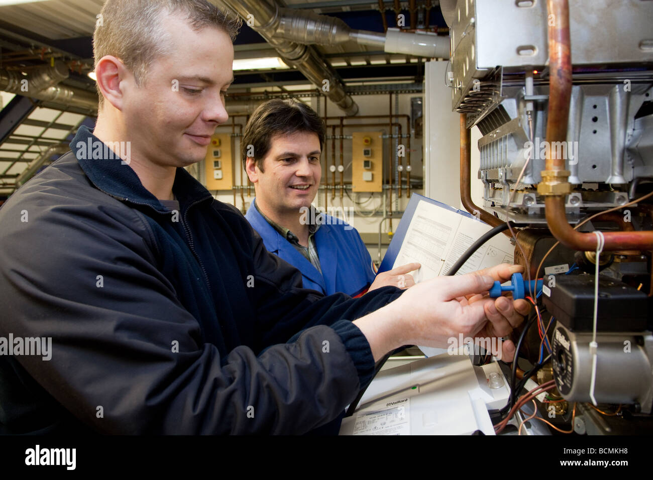 Training for heating ventilation and air conditioning in the school for master craftsmen in the Chamber of Trade - Stock Image