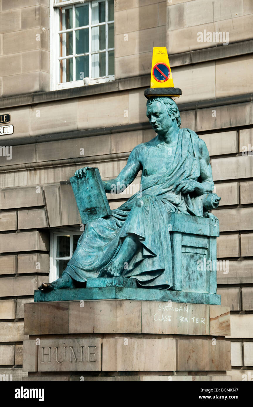The Hume statue with a cone on its head on the Royal Mile in Edinburgh Stock Photo