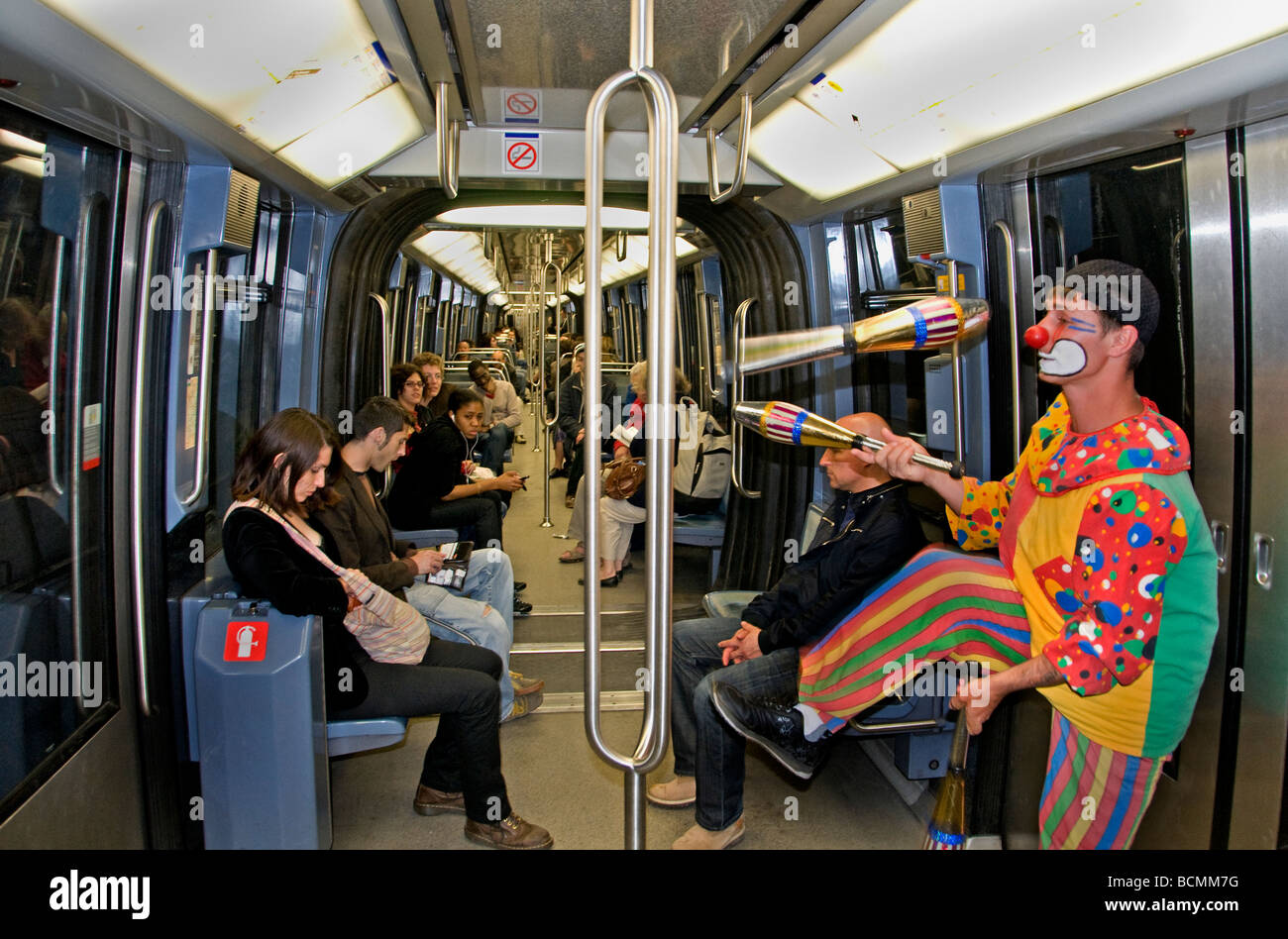 Paris France French Metro Clown Begging Beggar - Stock Image