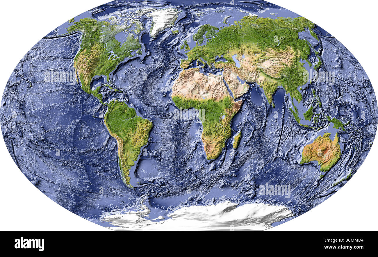 World Map Shaded Relief With Shaded Ocean Floor Stock Photo