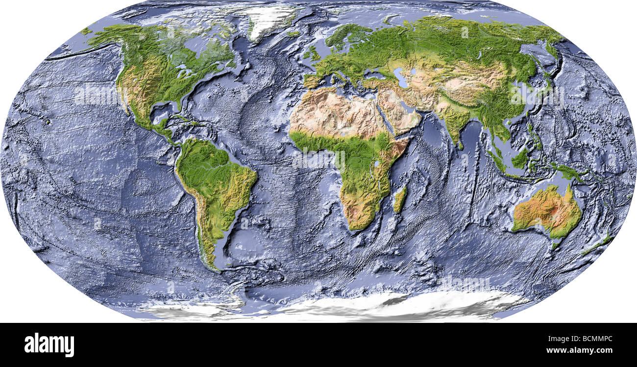 World map relief ocean floor stock photos world map relief ocean world map shaded relief with shaded ocean floor stock image gumiabroncs Gallery