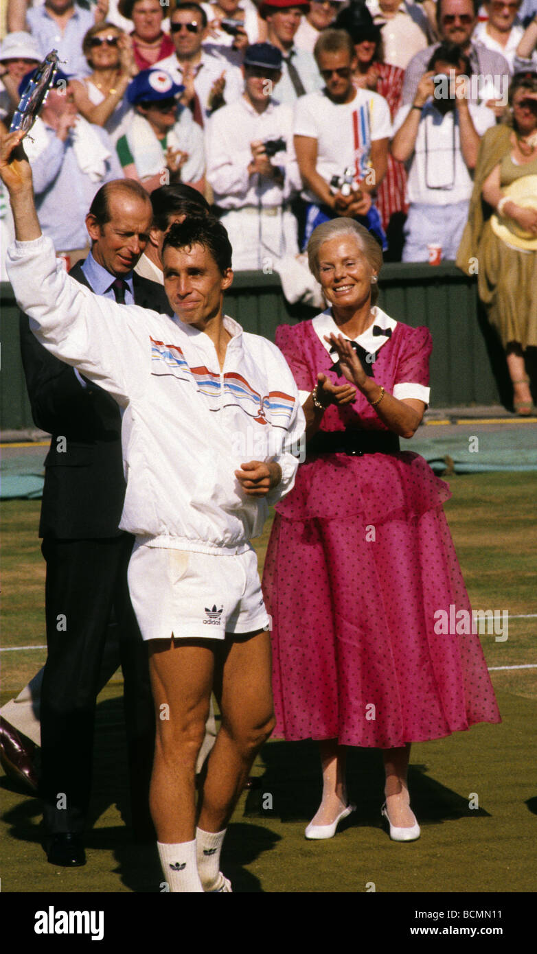 Ivan Lendl on Centre Court at Wimbledon after losing the mens final - Stock Image