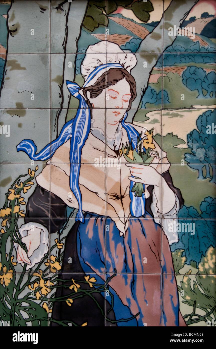 Restaurant Laperaux woman paintings historic Fashion Paris France French - Stock Image