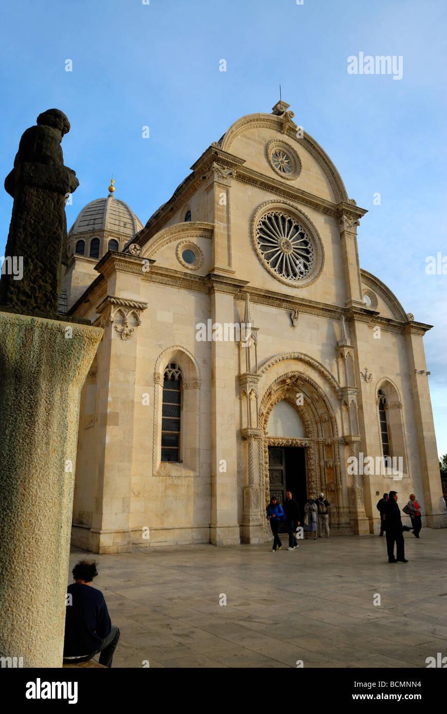 Cathedral of St James at Sibenik on Dalmatian Coast of Croatia - Stock Image