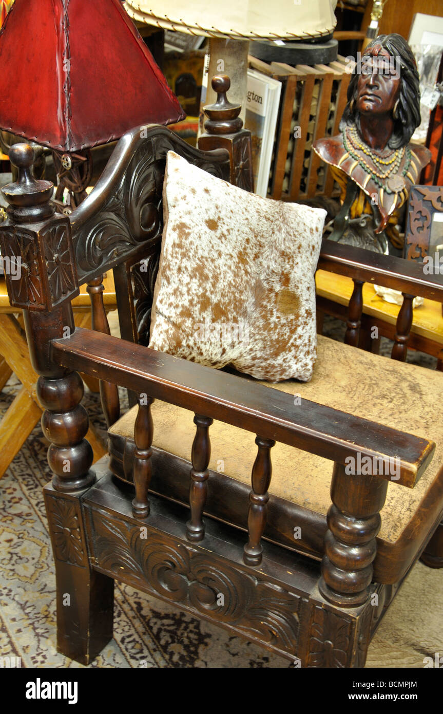 Old chair in antiques store in Fort Worth, Texas - Stock Image - Collectibles Collectible Antique Old Vintage Not Person Fort Worth