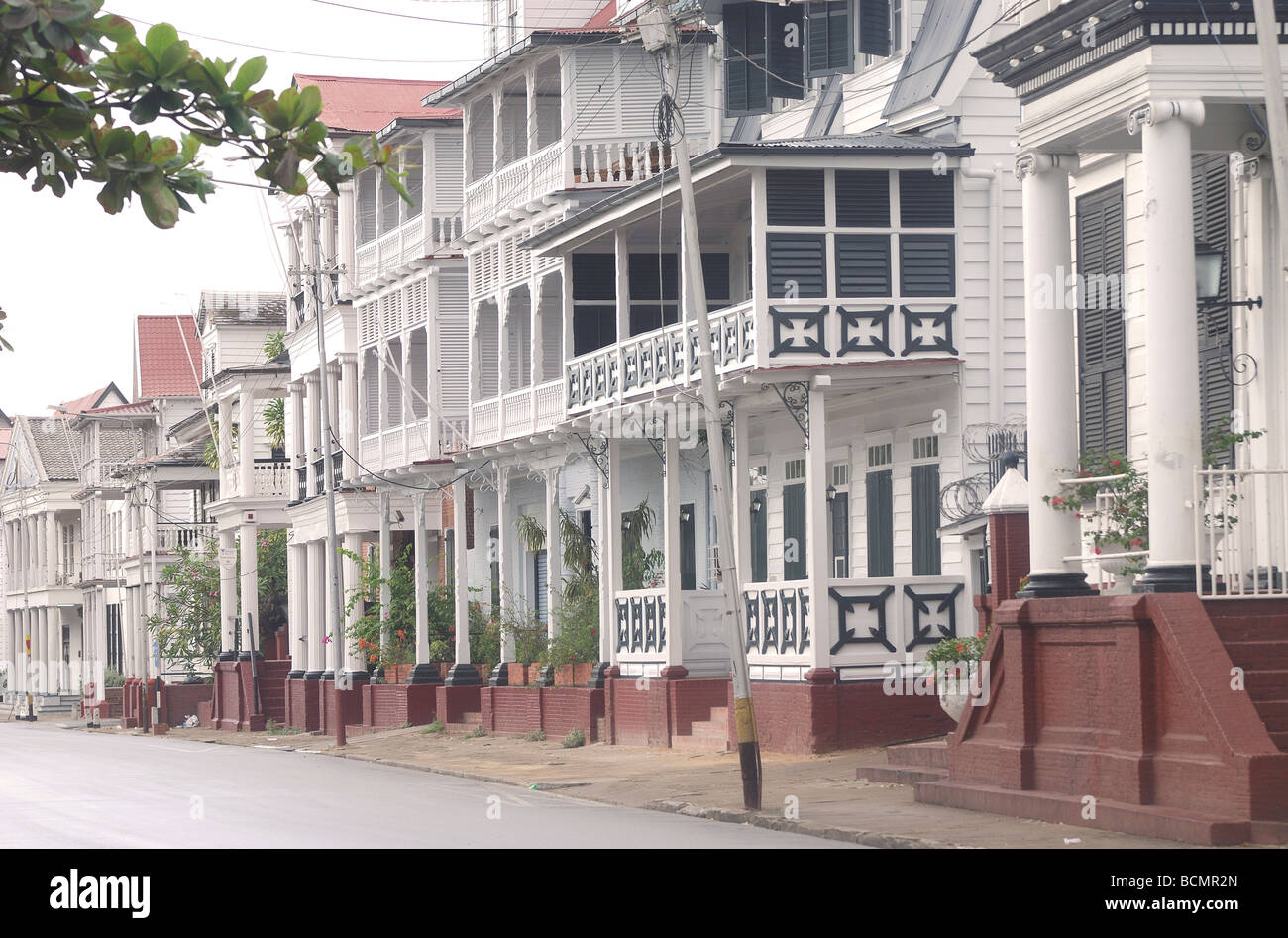 Dutch colonial street in Paramaribo, Suriname South America - Stock Image