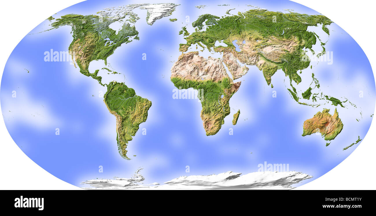 World map relief map centered stock photos world map relief map world map shaded relief centered on africa stock image gumiabroncs Image collections