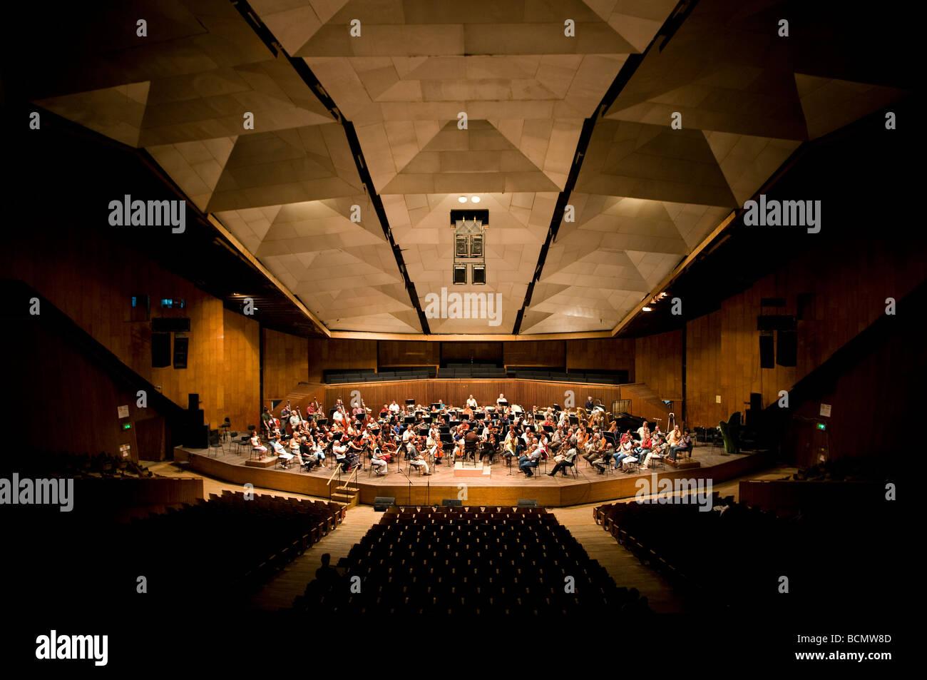 Rehearsal of the Israeli Philharmonic Orchestra in Auditorium Mann Central Tel Aviv Israel - Stock Image