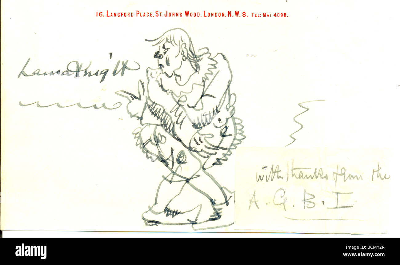 Original signed pen and ink sketch of a circus clown by Dame Laura Knight on her personal writing paper. - Stock Image