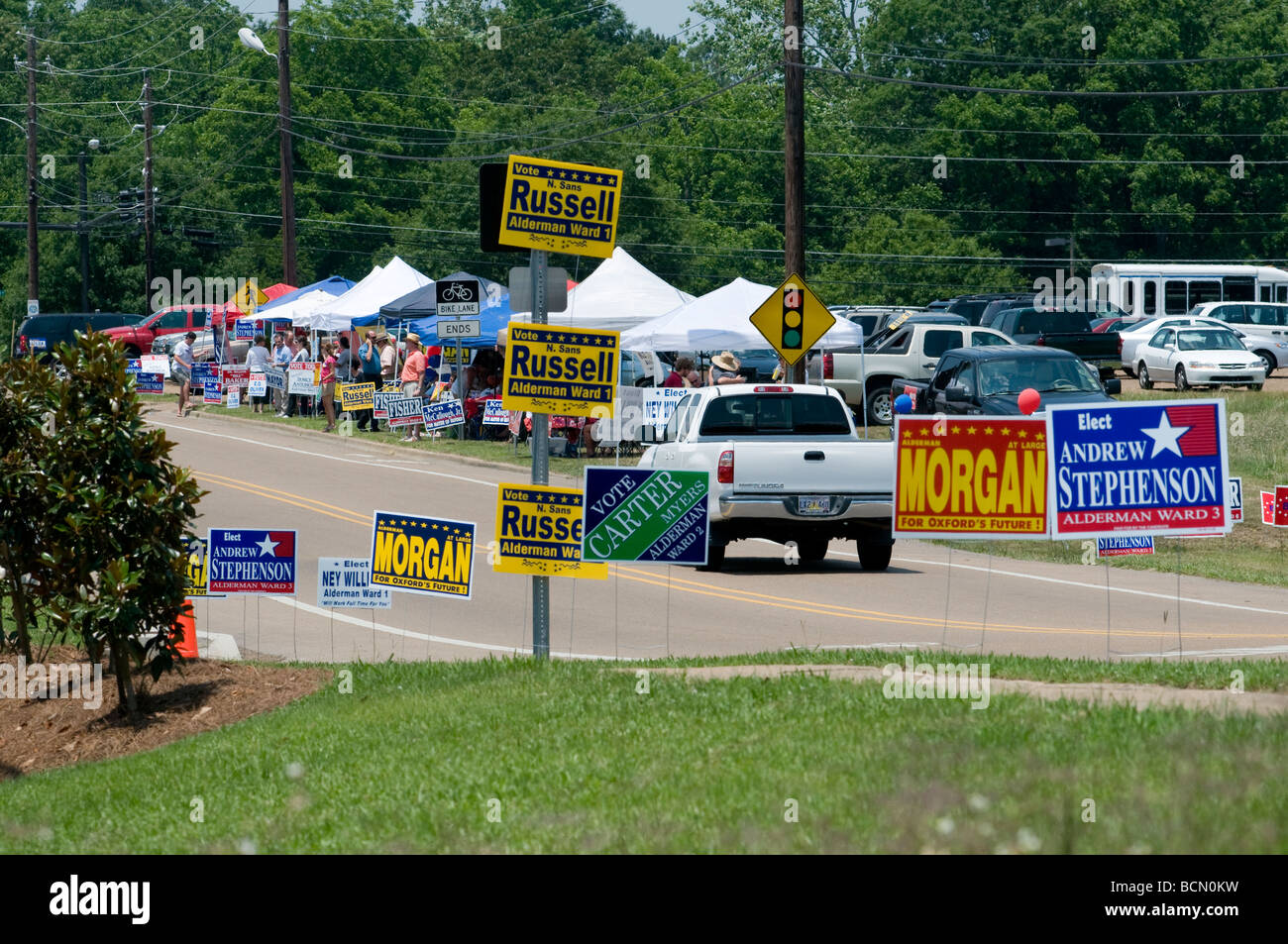Campaigning for local mayor election, Oxford, Mississippi, US - Stock Image