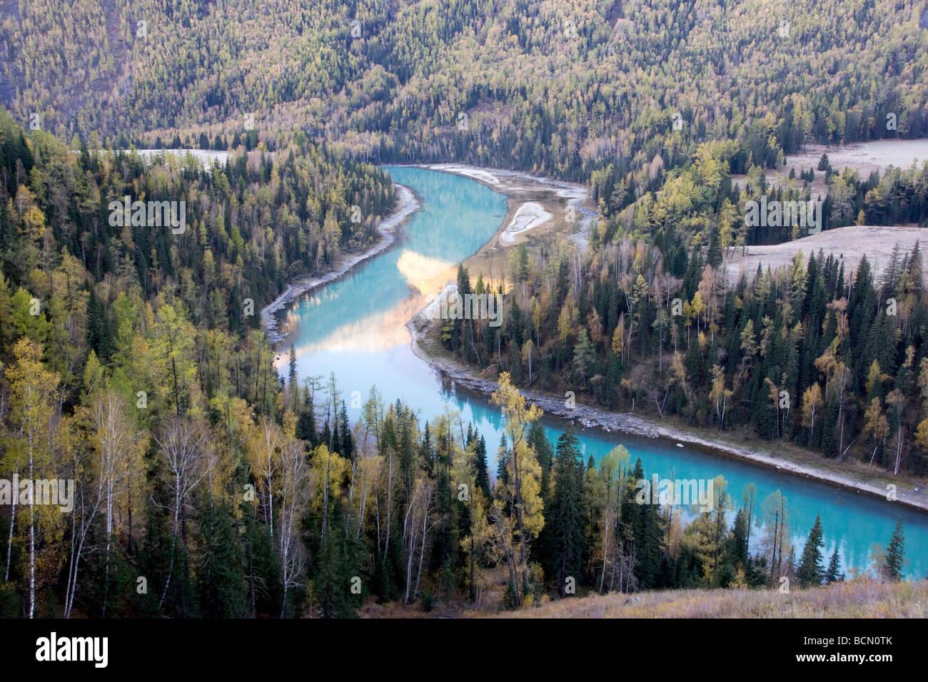 Blue Kanas Lake, Kanas Conservation, Xinjiang Uyghur Autonomous Region, China Stock Photo