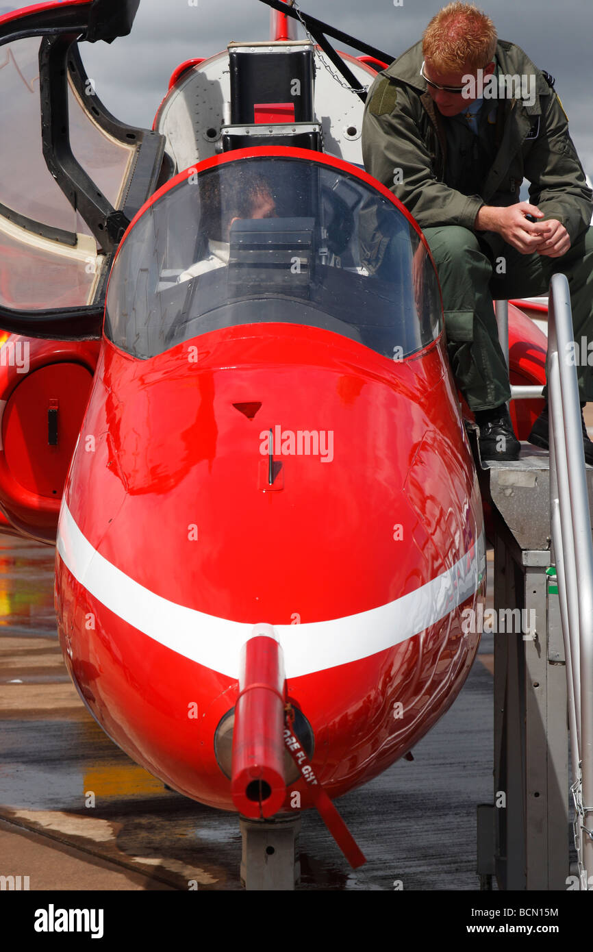 'Red Arrows' Hawk aircraft and pilot at 'air show', [RAF Fairford], Gloucestershire, England, UK - Stock Image