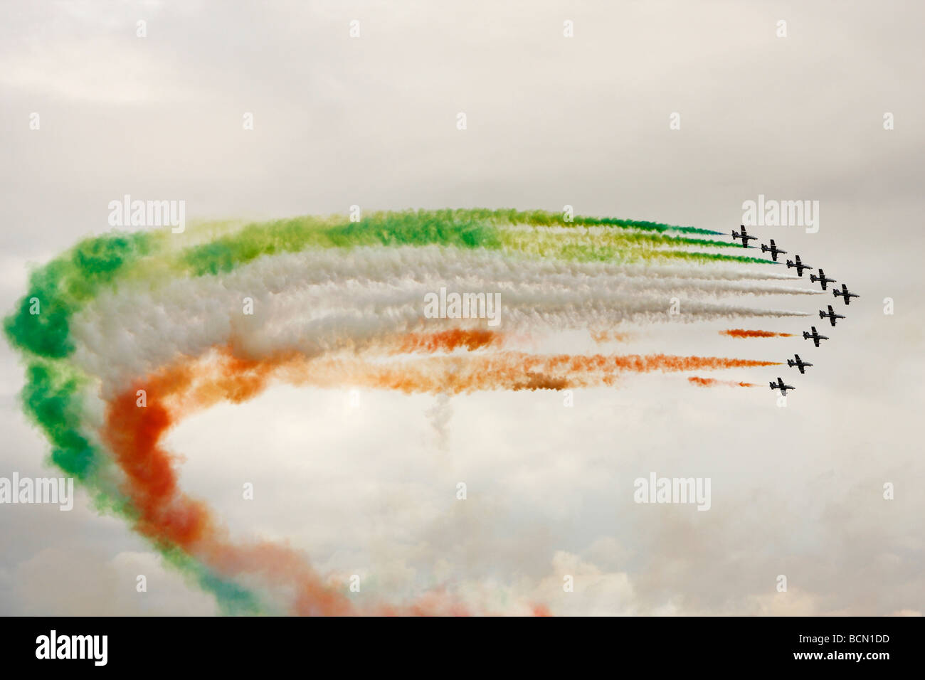 """Frecce Tricolori"" [Italian Air Force] Aerobatic Team formation flying trailing smoke, [RAF Fairford], Gloucestershire, Stock Photo"