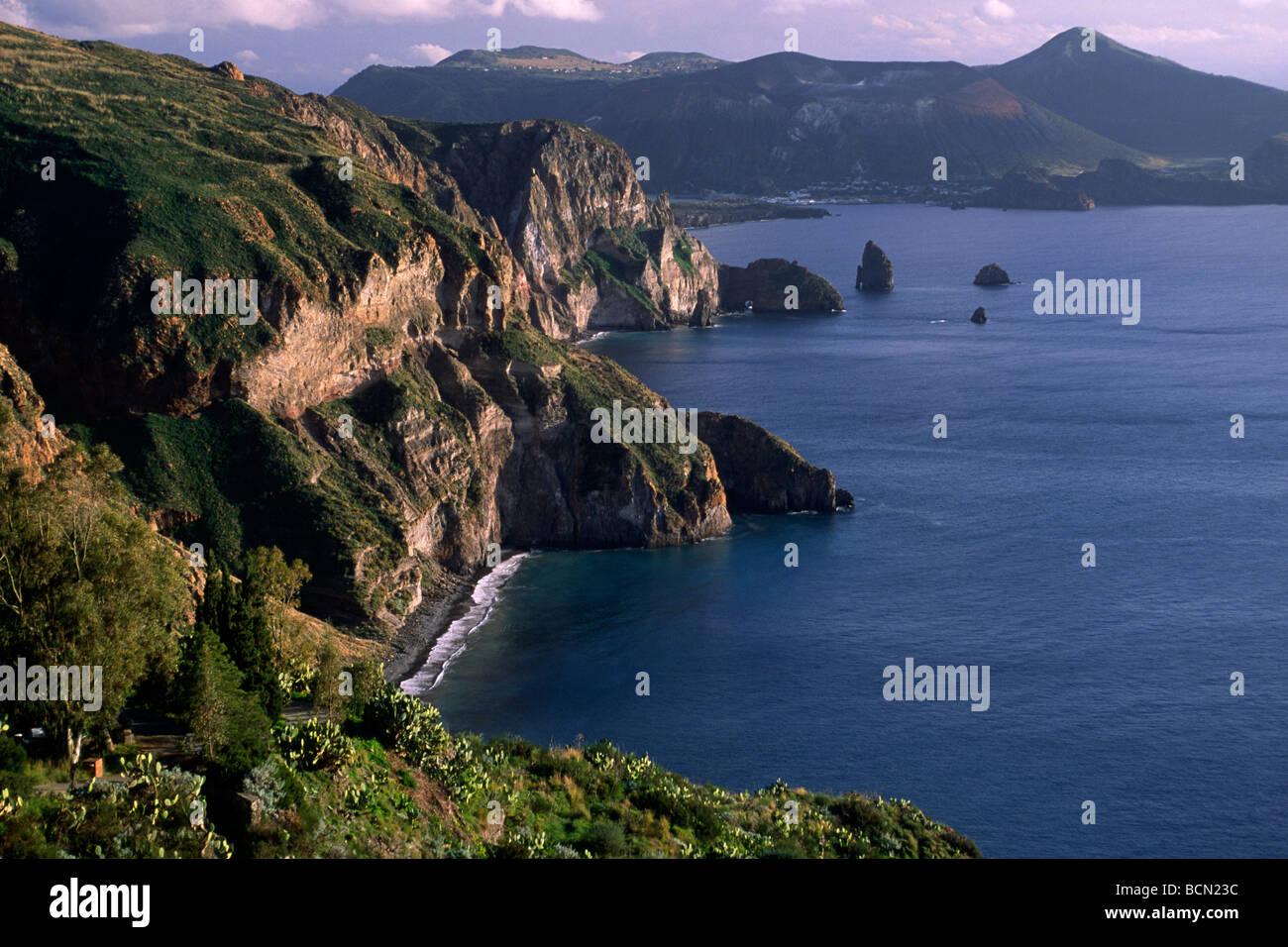 italy, sicily, aeolian islands, lipari island and vulcano in the background Stock Photo