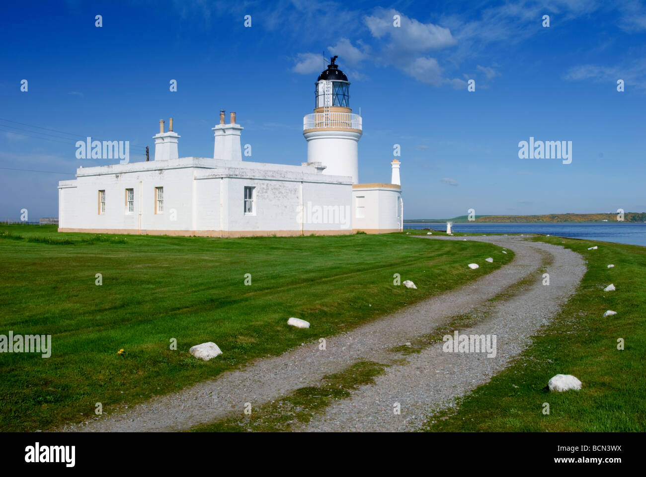 The lighthouse situated at Chanonry Point  Rosemarkie, near Inverness Scotland - Stock Image