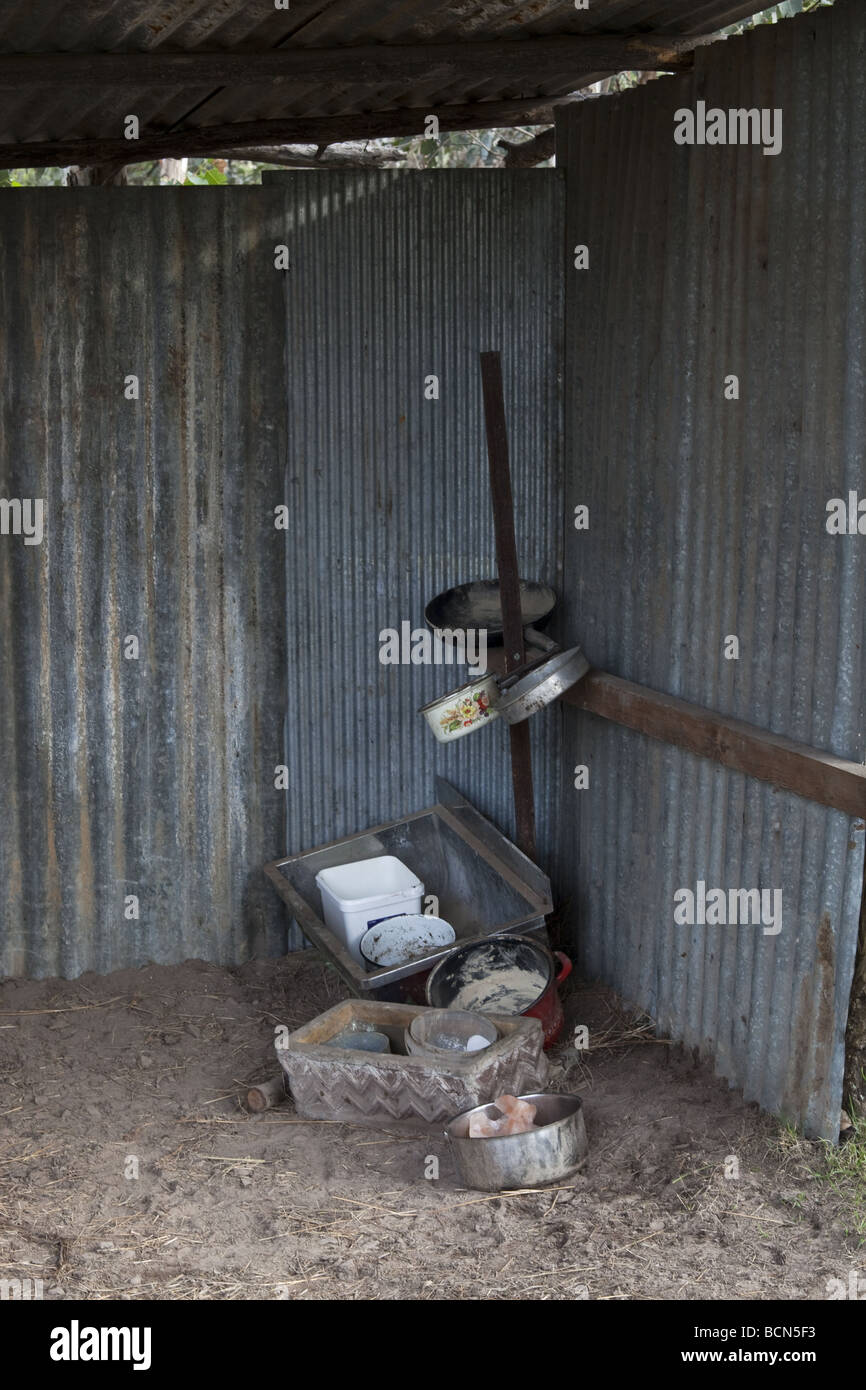pots and pans in the shelter - Stock Image