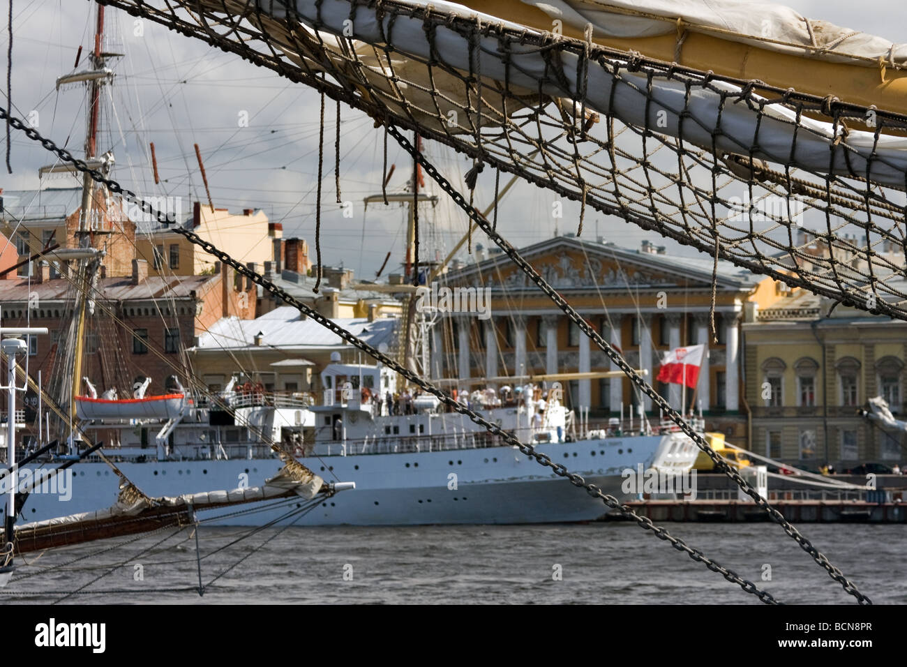 Neva river embankment during TALL SHIPS RACES St Petersburg Russia July 11 14 2009 - Stock Image