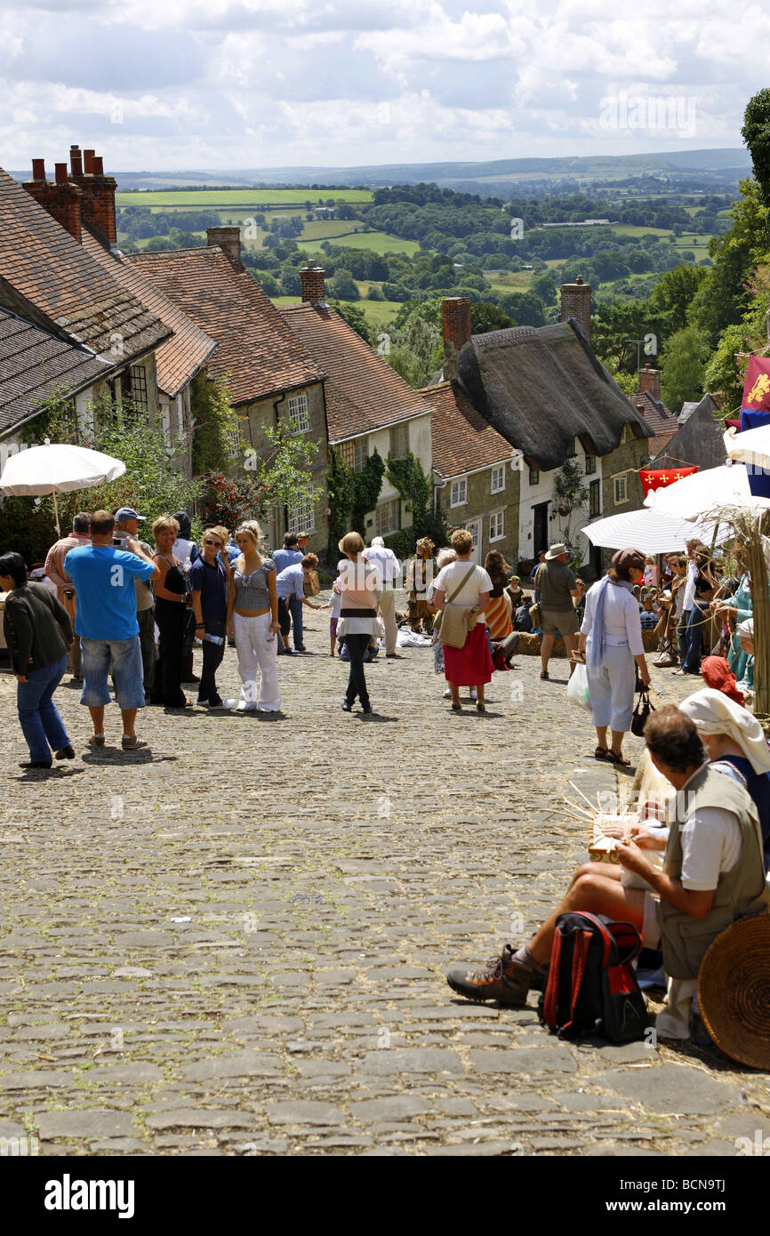 The Gold Hill Fair at Shaftsbury Dorset - Stock Image