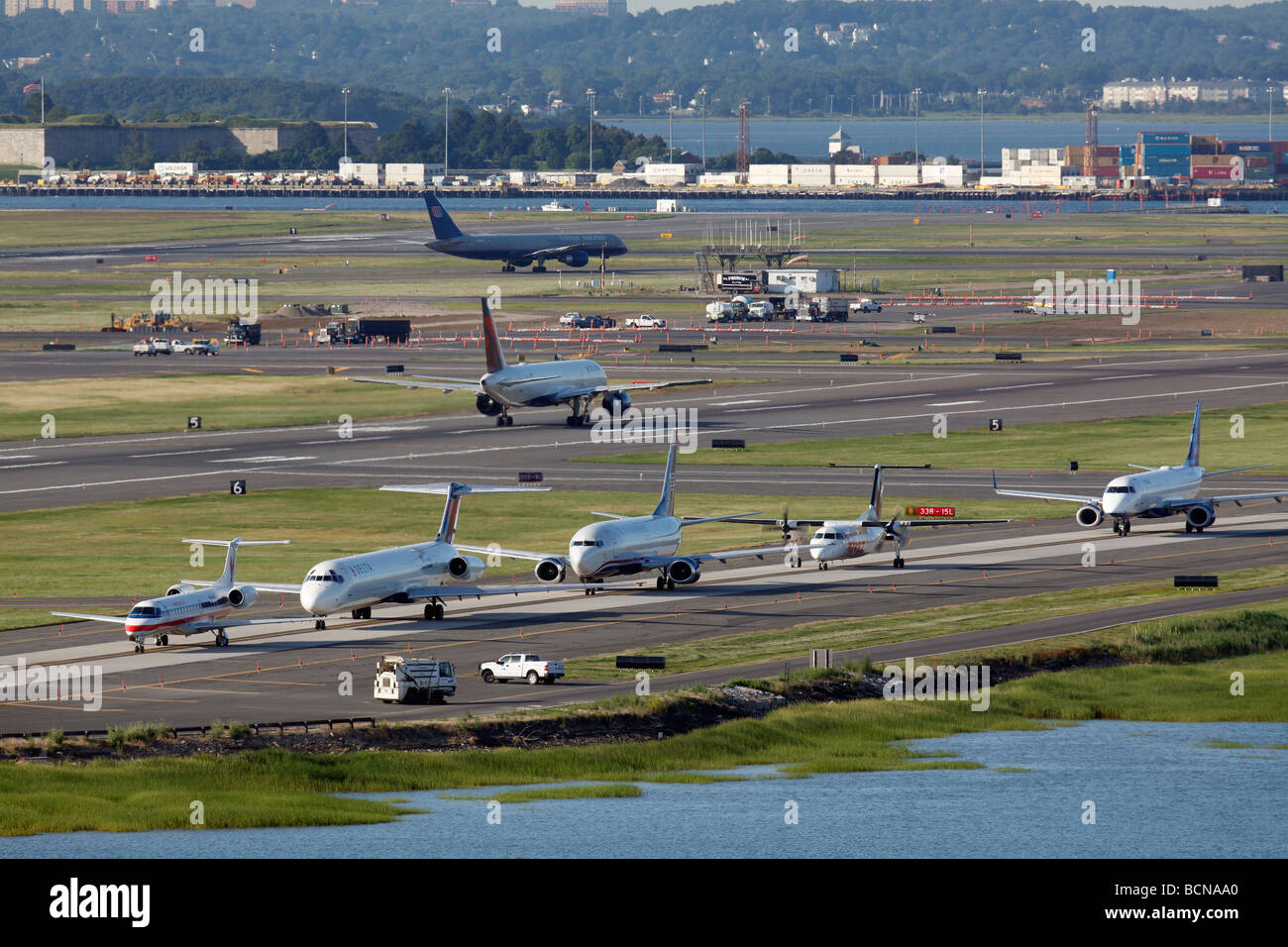 Activity at Logan International Airport, Boston, Massachusetts - Stock Image