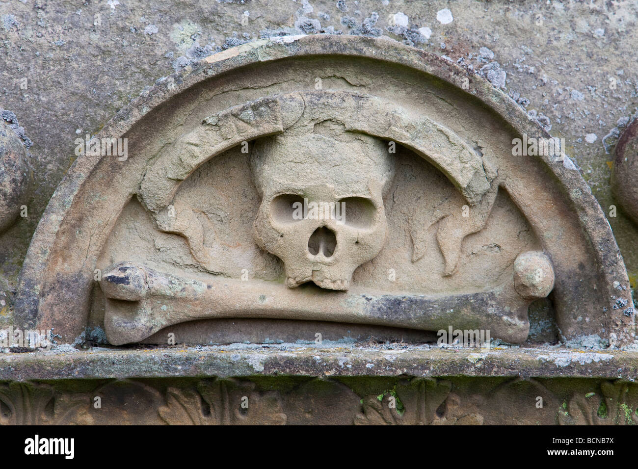 Skull And Bone Carving On Old Gravestone Stock Photo Alamy
