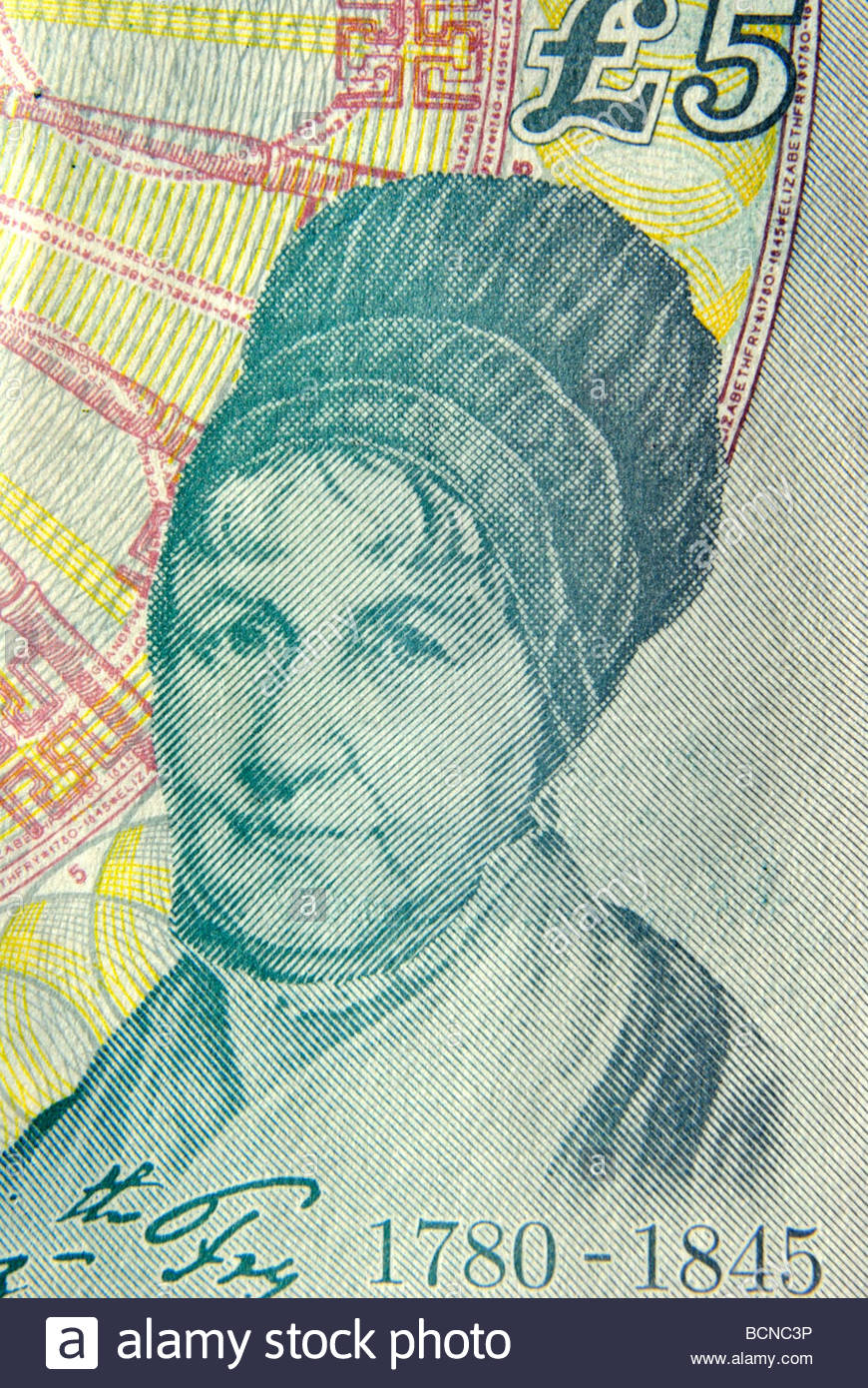English prison and social reformer Elizabeth Fry depicted on a Five pound note. - Stock Image