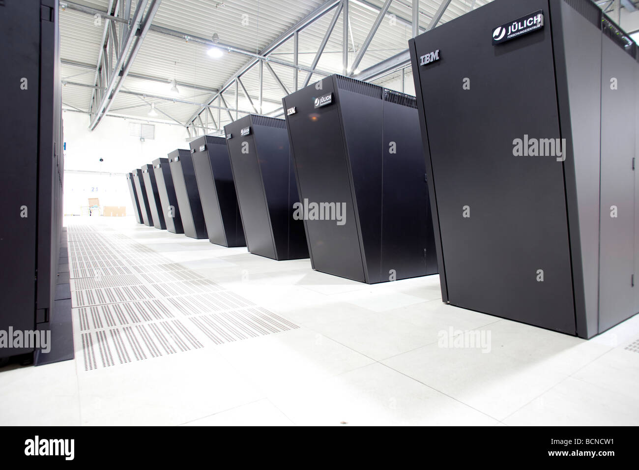 Supercomputer Jugene Researchers from all disciplines make use of supercomputers in order to discover how the climate is changin Stock Photo