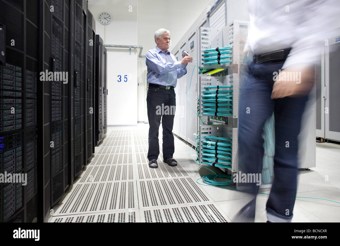 Supercomputer JUROPA Researchers from all disciplines make use of supercomputers in order to discover how the climate - Stock Image