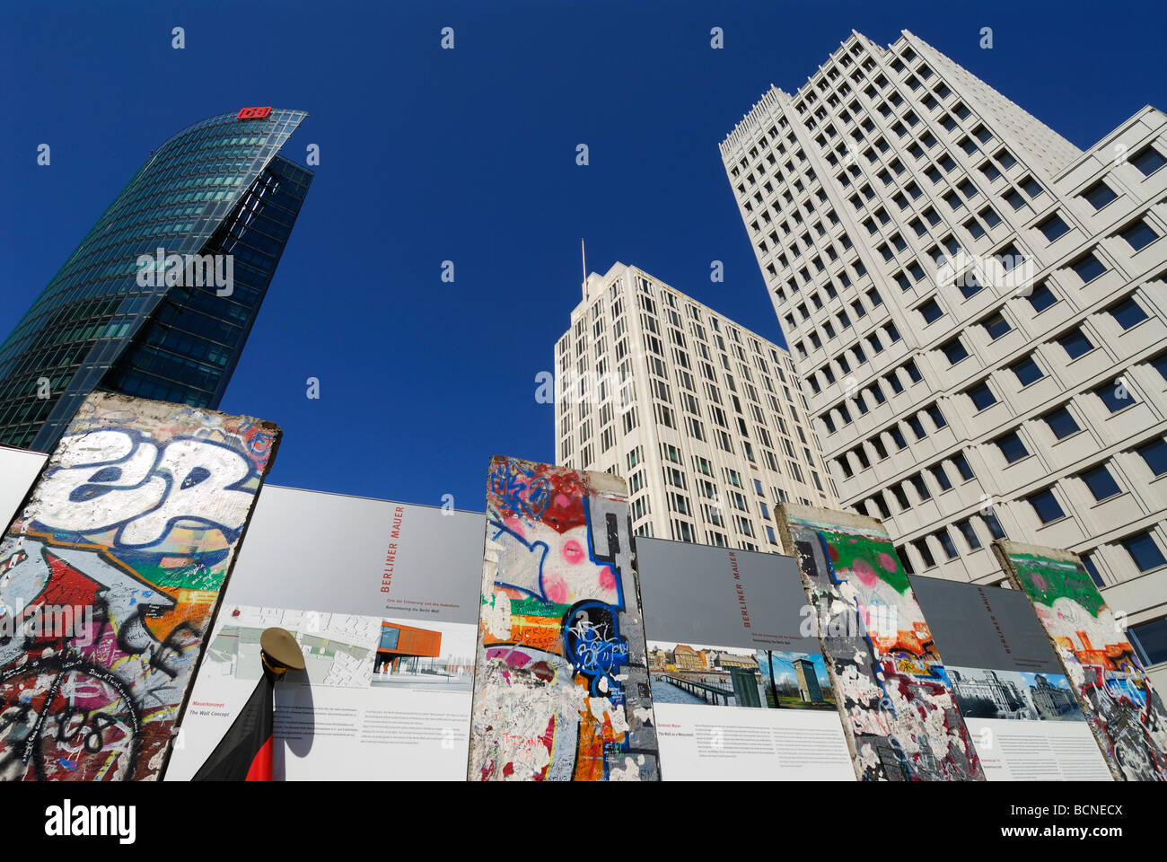 Berlin Germany Exhibition on Potsdamer Platz commemorating 20 years since the fall of the Berlin wall Stock Photo