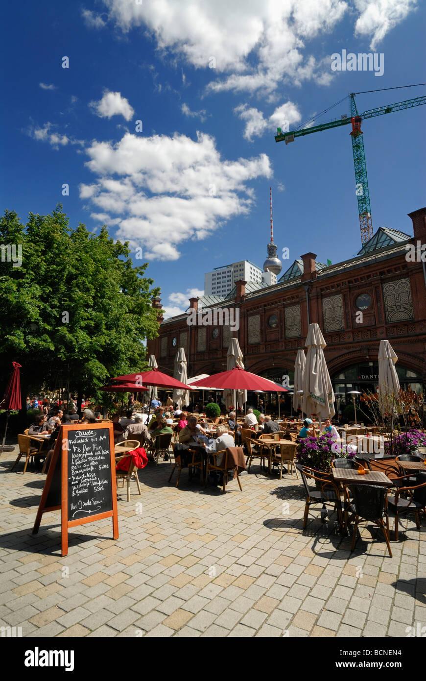 Berlin Germany Open air cafes restaurants at Hackescher Market - Stock Image