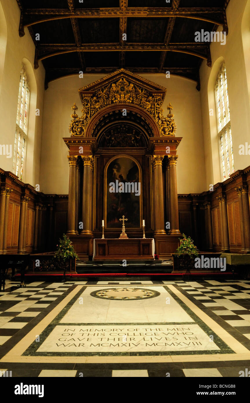 Trinity College Chapel, showing the altar and war memorial Cambridge England Uk - Stock Image