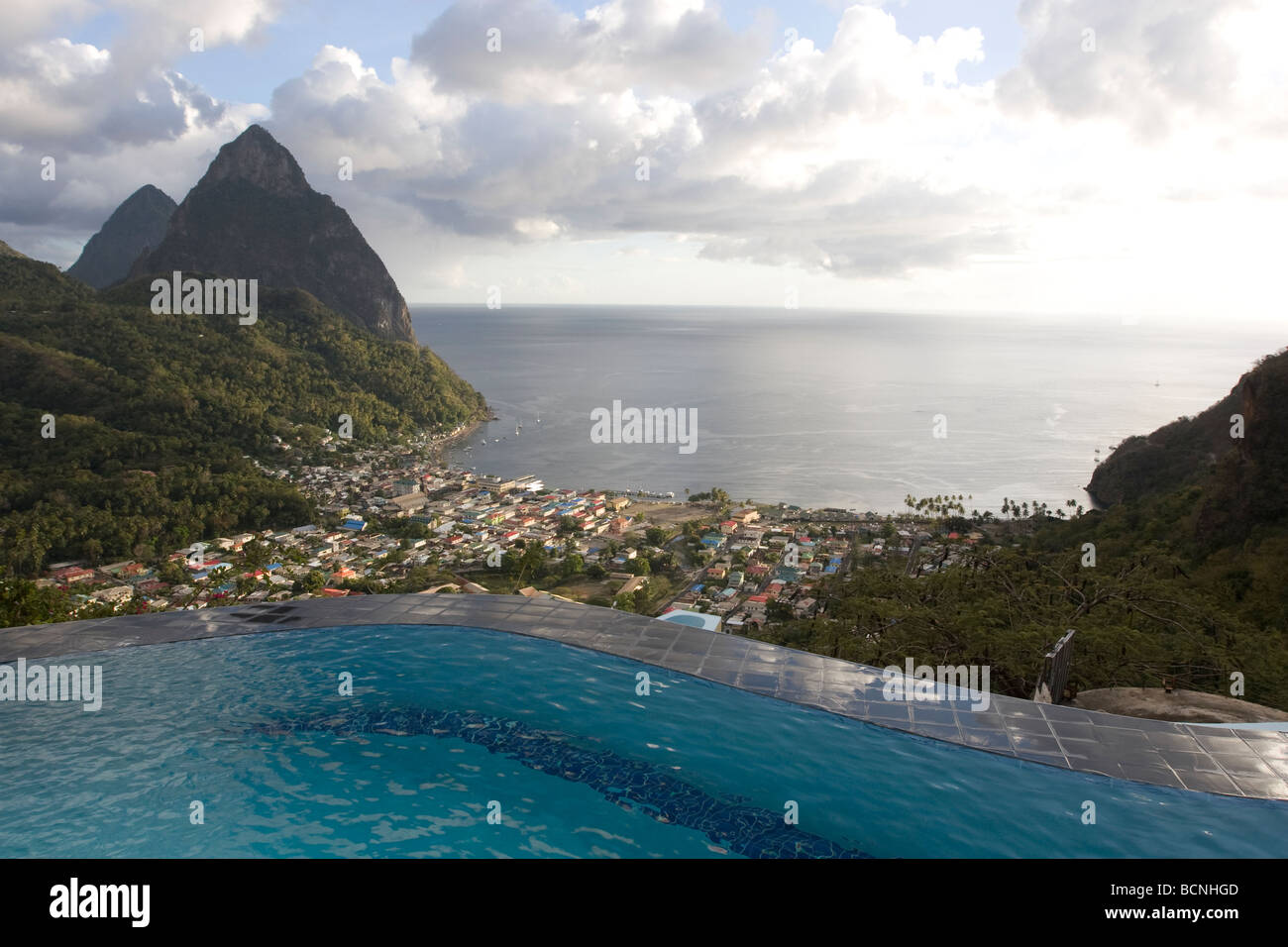 View of the Pitons in St. Lucia - Stock Image