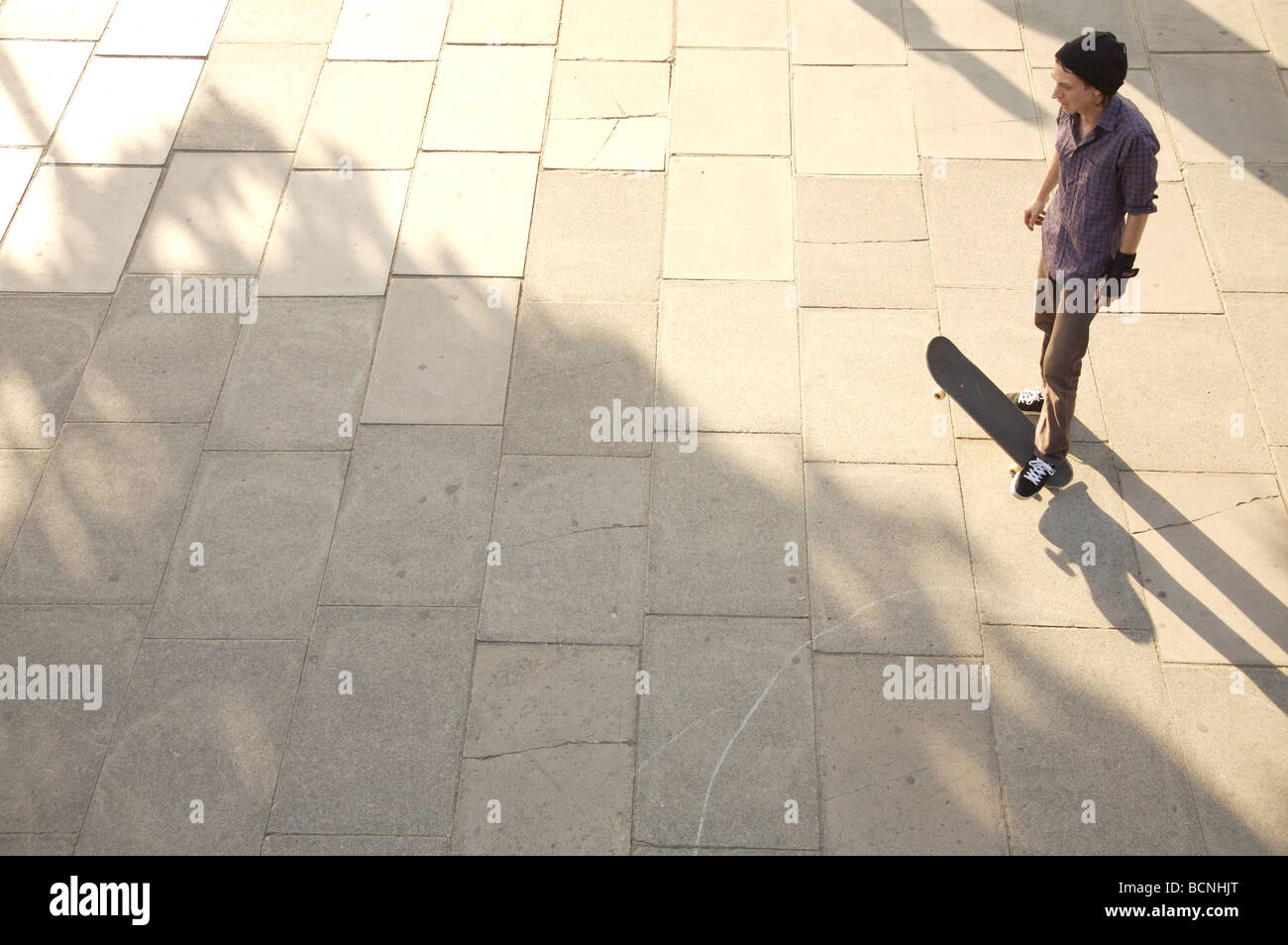 Skater with Shadows on Southbank - Stock Image