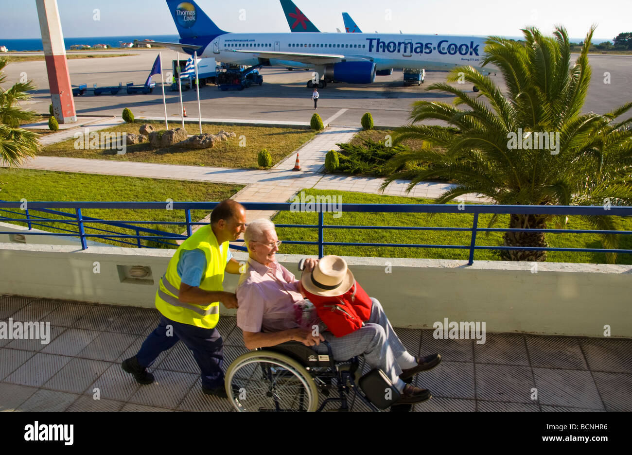 International arrivals at Kefalonia Airport on the Greek island of Kefalonia Greece GR - Stock Image