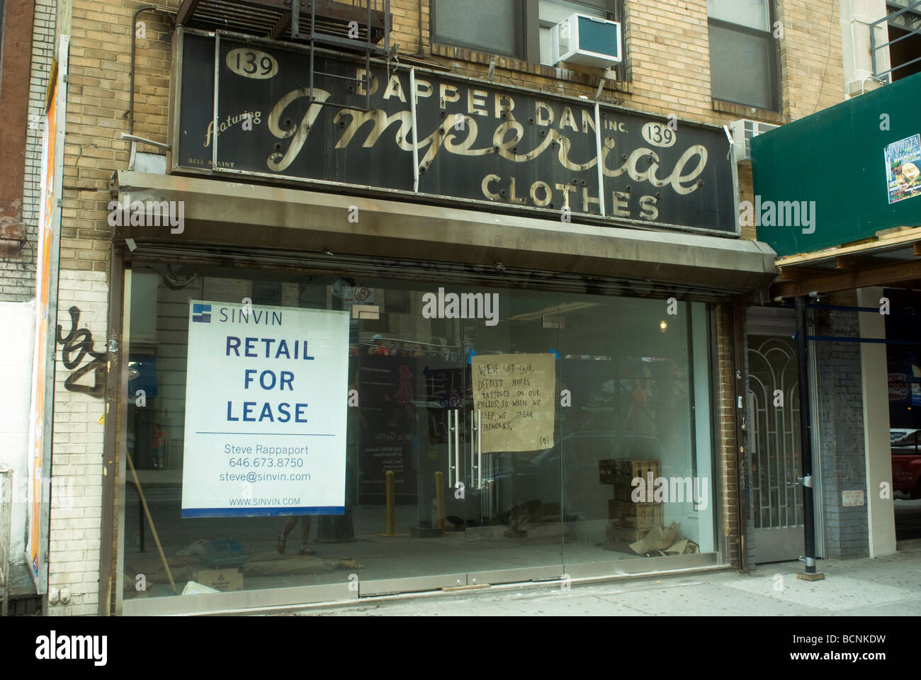 Vacant retail space on West 14th street in the Greenwich Village neighborhood in New York - Stock Image